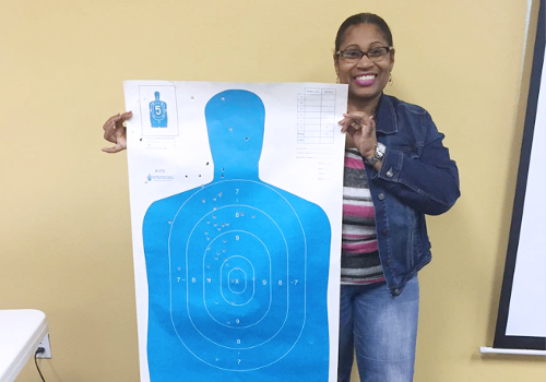 Woman Holding Her Target